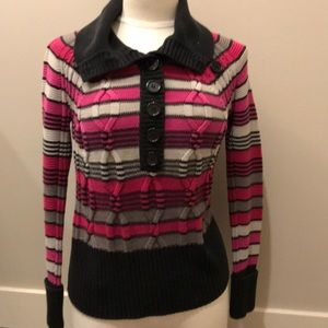 Medium dkny purple striped cable knit sweater